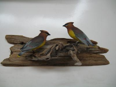 Pair Life size Cedar Waxwings