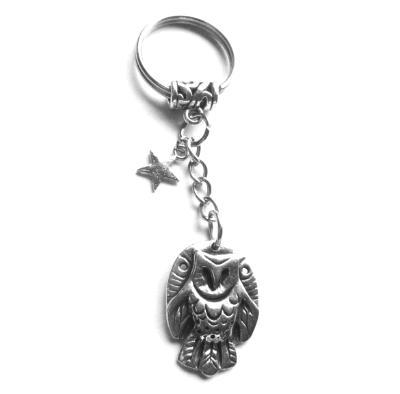 Owl keychain owl keyring original barn owl zipper pull