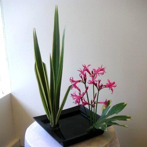 Ikebana arrangement using Kenzan and Suiban