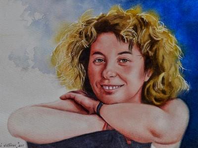 "Custom watercolor portrait ""FROM GEORGIA WITH LOVE"", 35cm X 50cm, 2019"