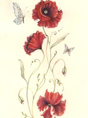 Red Poppies and Butterflies original painting