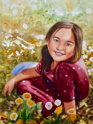 Custom watercolor portrait THE GIRL AND THE WILD FLOWERS, 35cm x 50cm, 2018
