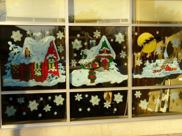 Santa with snow village