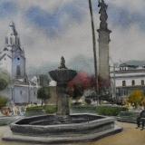 Plein air watercolor painting in the city of Quito-ECUADOR, 38cm x 28cm, 2020