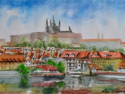 Plein air view of Prague-CZECH REPUBLIC, 28cm x 38cm, 2018