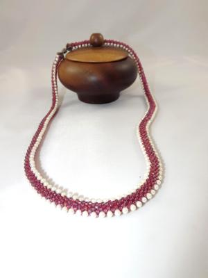 N-77 Rose Reversable Crocheted Rope Necklace