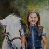 Custom watercolor portrait THE GIRL AND THE PONY, 35cm x 50cm, 2018