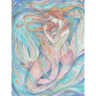 Mermaid mother and daughter print mother and child art