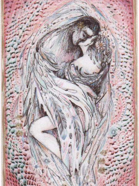 Angels Embrace limited edition print of two lovers kissing embracing romatic art