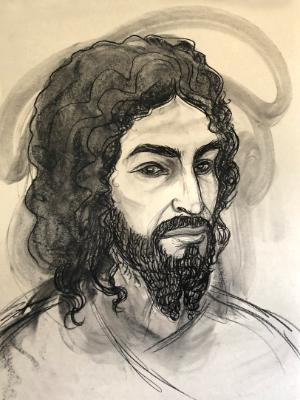Jesus with Curly Beard