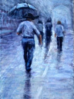 Texan in Tuscan rain - SOLD