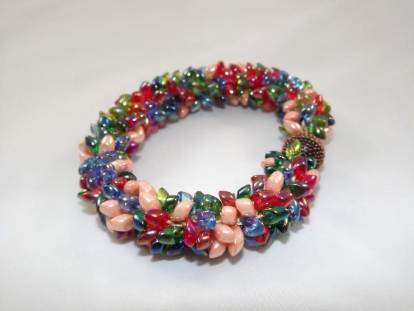 B-41 red, blue, peach, & green spikey bracelet