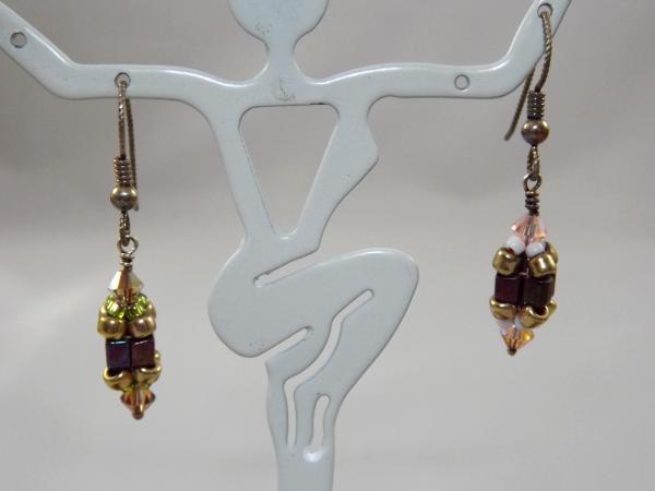 E-57 Bronze Beaded Bead Earrings