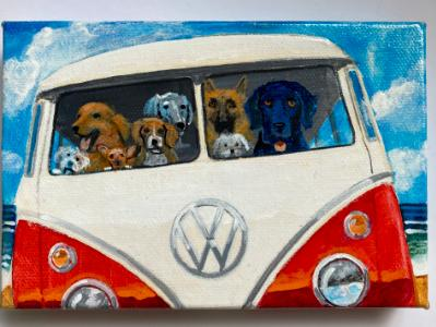 DOGS TAKE THE BUS TO THE BEACH