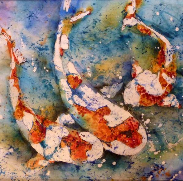 "Koi Watercolor Batik 20"" x 20"""