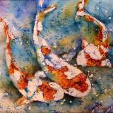 """Koi Watercolor Batik 20"""" x 20"""""""