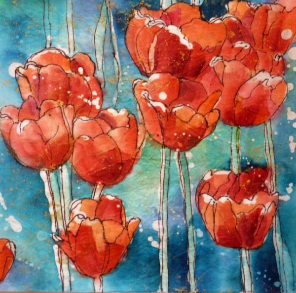 """Tulips 8"""" x 8"""" Watercolor Batik on Rice Paper"""