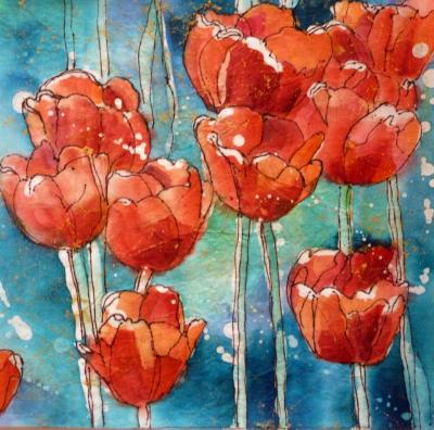 "Tulips 8"" x 8"" Watercolor Batik on Rice Paper"