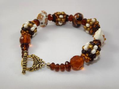 B-45 brown beaded bead & lampwork bead bracelet