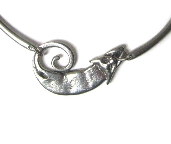 Gorgeous Cat necklace choker style in pewter by Liza Paizis