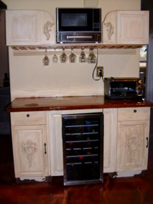 wine glass rack & microwave cabinet