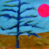 Northern landscape with tree and inappropriate sun color
