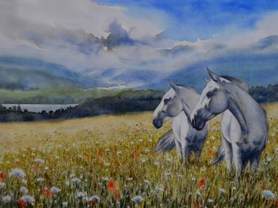 Horses of the HONEOYE LAKE, 76cm x 56cm, 2017