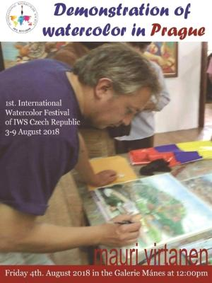 Watercolor demonstration in Prague-Czech Republic, 04.08.2018