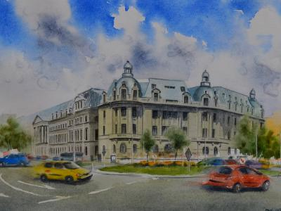 PIATA UNIVERSITATTI - Bucharest, 35cm x 50cm, 2019