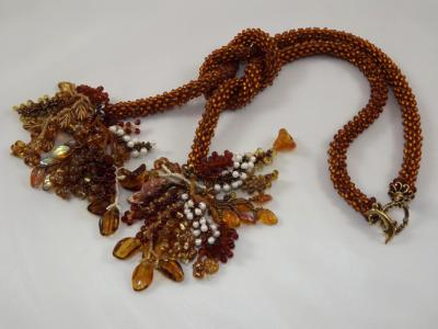 N-87 Rootbeer Crocheted Rope Tassel Necklace