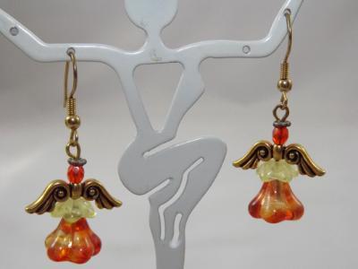 E-34 Orange & Gold Angel Earrings