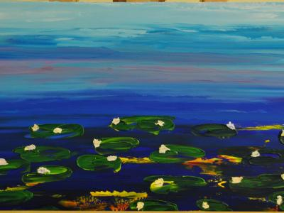 Water Lilies 15 X 30 Acrylic on Canvas board Embellished prints available