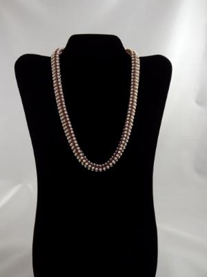 N-108 Woven Necklace w/Swarovski Crystal Pearls