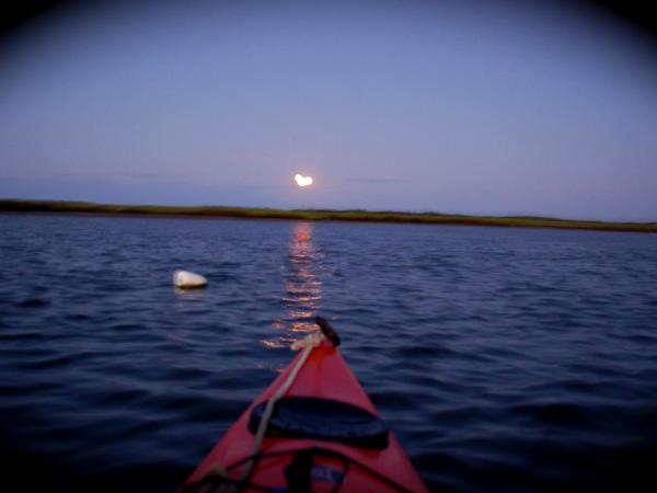 David Lee Black, kayak, full moon