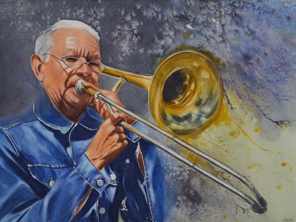 Portrait of a street trombonist, 38cm x 56cm, 2019