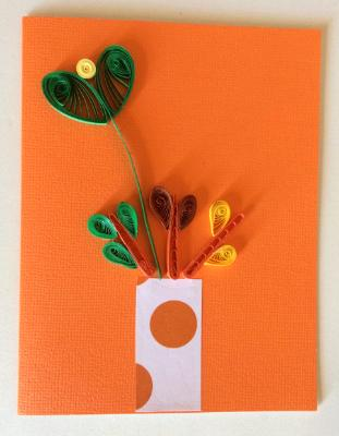 Orange vase with flowers handmade quilling greeting card.