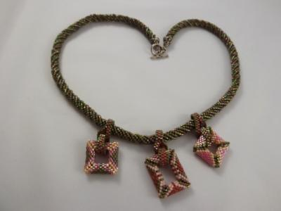 N-27 Olive Green & Pink Charm Necklace