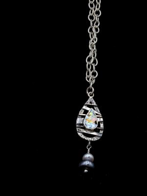 Sterling, Roman Glass and Fresh Water Pearl
