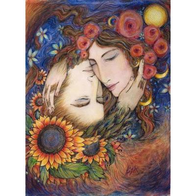 Lovers Sun and Moon Original Painting watercolors pastel Sun Moon romantic  Art