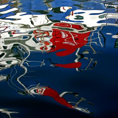 Reflections: Red, White on Blue