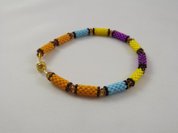 B-22 purple & yellow bead tube bracelet