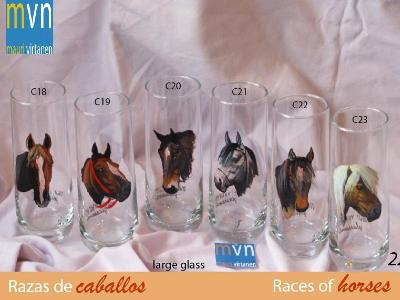 Set of handpainted glasses: RACES OF HORSES