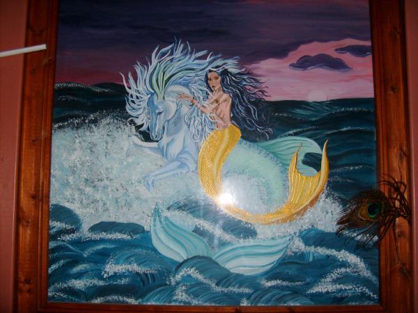 Close-up of mermaid painting
