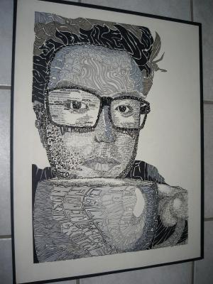 Intermediate Drawing at UCSD,  Self-Portrait with Words (Pen)