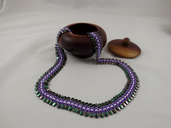 N-67 Iridescent Green Teardrop, Purple, & White Woven Necklace