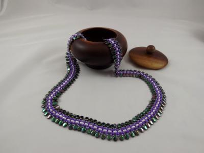 N-67 Iridescent Green Teardrop, Purple, & White Woven Necklace