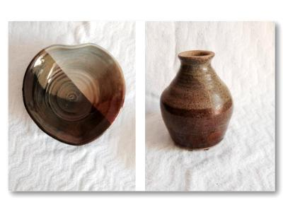 Brown Heart Dish and Vase