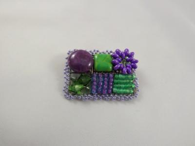 Purple & Green Brooch