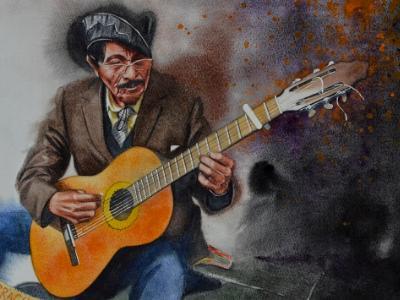 Portrait of a street guitarist, 38cm x 56cm, 2020
