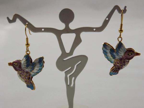 E-48 Cloissone Hummingbird Earrings